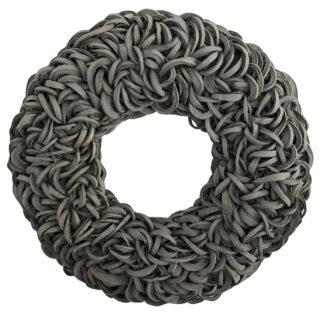 Kranz Naturkranz grau Kokos Baumrinde Kokosfasern grau Tischkranz Dekokranz Wandkranz couronne XXL 80 cm