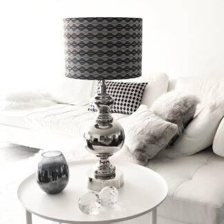Tischlampe silber rund bauchig Metall mit Trellis Lampenschirm grau blau beige Vintage