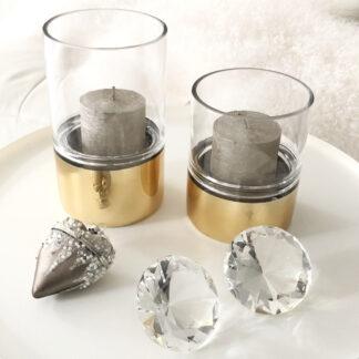 Teelichthalter Windlicht Glas mit Gold modern in zwei Größen Tischdekoration Licht