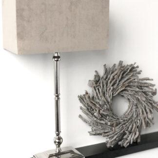 Tischlampe silber mit Lampenschirm taupe Samt Velours länglich rechteckig Tischlampe edel klassisch zeitlos modern Tischleuchte Licht