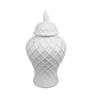 Deckelvase weiß Rautenmuster 22x22x41 cm Dekovase Vase mit Deckel rund bauchig edel elegant Dekoration Dekolieblinge