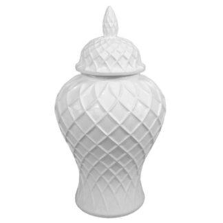 Deckelvase weiß Rautenmuster Dekovase Vase mit Deckel rund bauchig edel elegant Dekoration Dekolieblinge 28x28x52 cm