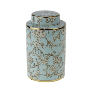 Deckelvase Kirschblütenmotiv Sakura edel exklusiv weiß hellblau gold Vase Dekoration Aufbewahrungsbox Vase Frühlingsdekoration