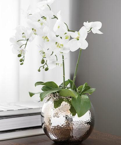 Fink Vase Moon silber vernickelt gehämmert rund bauchige Vase 25 und 20 cm edle Vase Fink Blumenvase Hammerschlag Blumentopf silber Blumen