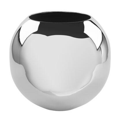 Fink Vase Moon silber vernickelt glänzend rund bauchige Vase 25 und 20 cm edle Vase Fink Blumenvase Blumentopf silber Blumen