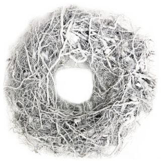 Dekokranz weiß Türkranz Nest aus Äste Osternest Osterkranz weiß Ostern Osterdekoration Frühling