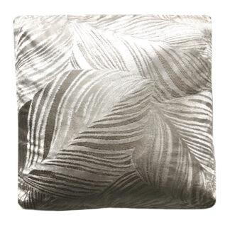 Kissen beige Champagner Samt Velvet mit Palmblatt Motiv sehr edel 45 cm mit Inlett Kissen Blätter beige nude champagner Dekokissen Blätter Samt Dschungel Blätter