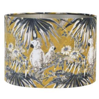 Lampenschirm gold ocker Papagei Dschungel Palmen Samt Velours 35 cm Light and Living