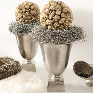 Pokal Vase Amphore Aluminium silber Metall Handarbeit silber mit Sockel Blumenvase Pokalvase Amphore silber antik Dekoration Dekolieblinge