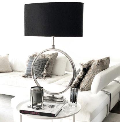 Tischlampe Kreis Form rund silber Alu vernickelt Lampenschirm schwarz Samt Velour Optik XXL 95 cm groß Tischlampe XXL Extravaganz elegant Luxus Lampe