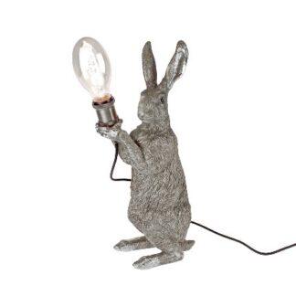 Tischlampe Hase Osterhase silber antique mit haltender Glühbirne Osterdekoration edel