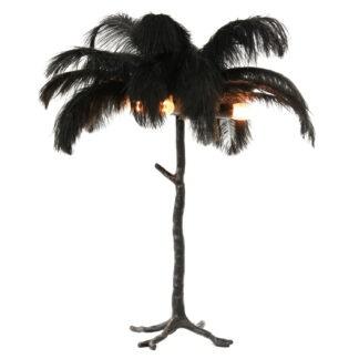 Tischlampe Palme schwarz mit echten Straußenfedern exotische Tischlampe Dschungel Luxus Stil Dekoration edel