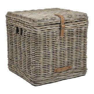 Aufbewahrungskorb Korb Rattankorb Bambus in grau naturfarben mit Griffen und Deckel robust geflochten maritim Landhaus Chalet Naturprodukt Beistelltisch Ratten Bambus Korb für Holz