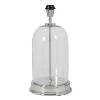 Lampenfuß Glas klar silber Metall rund Tischlampe bouala von Light and living