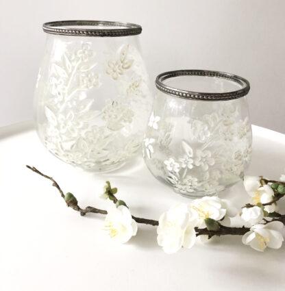 Teelichthalter Glas weiß mit weißen Blüten Sakura Kirschblüten Frühling Teelichterhalter Blumen