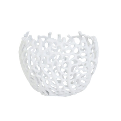 Windlicht Teelichthalter Koralle weiß Korallenmotiv matt rund Ø 12x10 cm Teelichthalter Koralle weiß