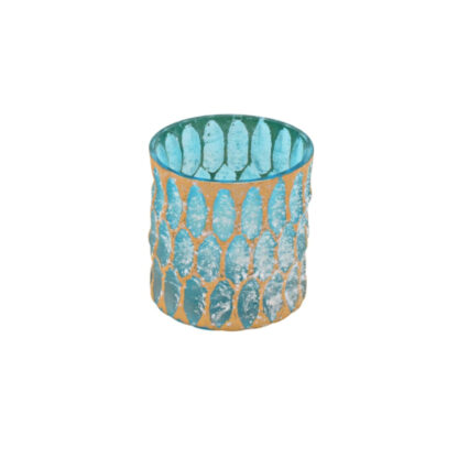 Teelichthalter Windlicht türkis gold Crystal Glas Windlicht Teelichthalter türkis Sommerdekoration Maritim Mediterran Licht
