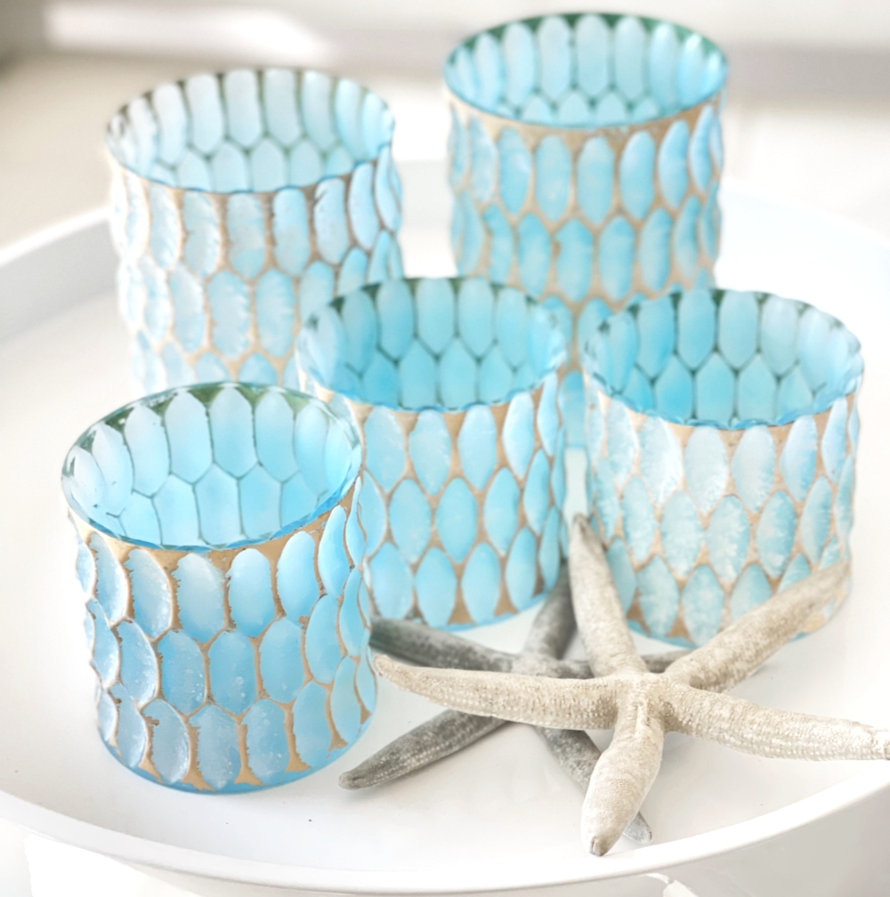 Windlicht türkis Kristall blau gold Teelichthalter Sommer Teelichter Licht Strand Terrasse Sommerdekoration