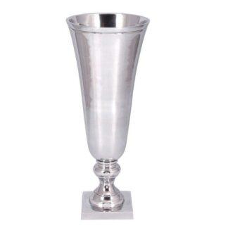 Blumenvase silber Metall auf Fuß Amphore Vase Blumenvase mit rechteckigem Fuß 50 cm