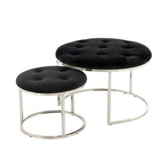 Samt Hocker schwarz Samt Pouff edel verarbeitet Sitzpouff Sitzhocker Sitzgelegenheit, Beistelltisch Samt silber schwarz Nachttisch oder Tablett-Ablage Hocker 2er Set mit Metall silber Gestell