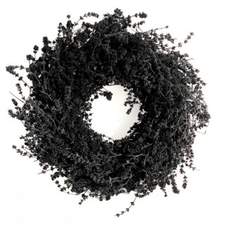 Kranz schwarz Naturkranz Leinenkraut Kranz Leinenkraut schwarz 35 cm Türkranz Wandkranz Tischkranz edel schwarz getrocknete Sträucher