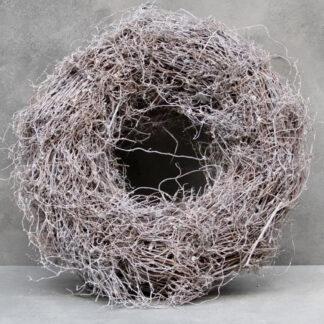 Naturkranz dünne Äste grau weiß gekalkt Osterkranz Osternest Rebenkranz Nest Kranz Natur dünne Äste Osterdekoration