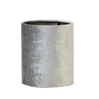 Lampenschirm silber grau Velours Samt Lampenschirm Gemstone edel 15x15x17 Zylinder rund Light and Living