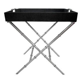 Beistelltisch Serviertisch silber Stahl Metall mit Kroko Leder schwarz abnehmbares Tablett Edel Luxuriös