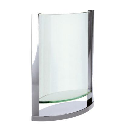 BLUMENVASE GLAS METALL MODERN ELLIPTISCH MODERNE FORM BLUMENVASE VASE DECADE 30 CM VON PHILIPPI