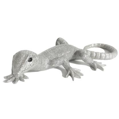 DEKOFIGUR ECHSE Salamander Reptil SILBER EIDECHSE EXOTISCHE DEKORATION DSCHUNGEL
