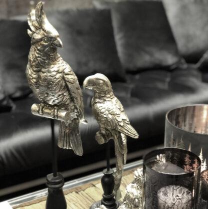 Dekofigur Papagei auf Ständer silber antik edel Cor Mulder 38 cm