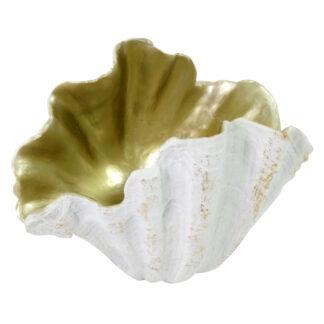 Deko-Schale Muschel gold weiß Muschelschale Polyresin edel Sommer Dekoration Strandgut Strand Meer