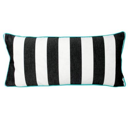 Dekokissen schwarz weiß gestreift mit Leder türkis Sommerkissen Outdoor-Kissen Sommerdekoration Balkon Terrasse