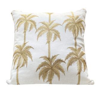 Kissen weiß mit goldene Palmen Sommerkissen Leinenkissen weiß gold Palmenkissen Sommer Dekoration Exotik Dschungel