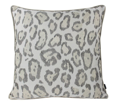 Dekokissen Leopard silber beige taupe 50 cm Animal print edel Luxuskissen Safari Exotic steen design
