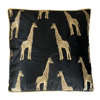 Kissen Giraffe gold schwarz Velours Samt Kissen Dschungel Kissen Safari Dekoration Sommerkissen