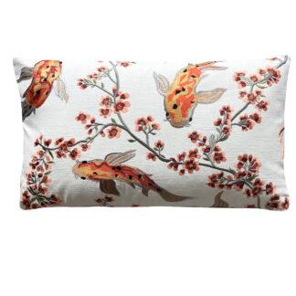 Kissen Koi Fisch Motiv orange weiß Leinenkissen mit Fisch und Blumen Kirschblüte