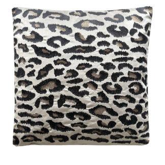 Dekokissen Leopard beige taupe schwarz bronze bestickt Samtkissen Velours Animal Print Leoparden Muster auf Samt Velours Dschungel Dekoration Exotisches Kissen