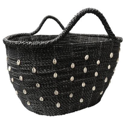 Aufbewahrungskorb Korb Einkaufskorb schwarz geflochten mit Griff und Muscheln Einkaufstasche Korb Strandtasche