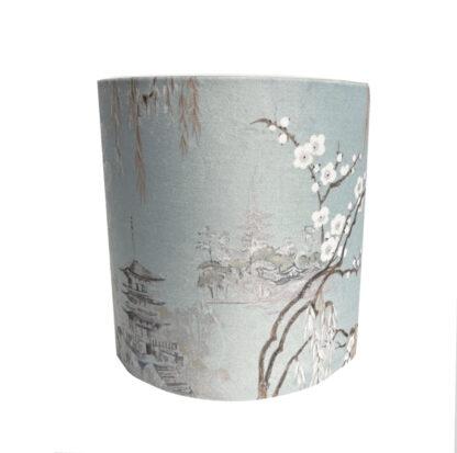 Lampenschirm Kirschblüte Sakura hellblau mint zart türkis edel chicer Lampenschirm Kirschbaum Kirschbüte Japan Tempel Japanischer Garten