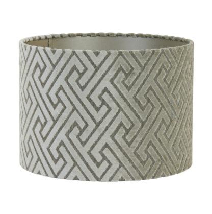 Lampenschirm silber taupe creme Samt Velours von Light und Living Luxus Lampenschirm edel mit Struktur Vintage