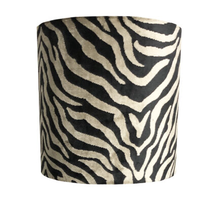 Lampenschirm Zebra Velours Samt schwarz gold bronze beige Luxus