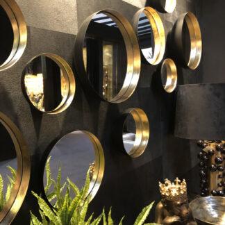 Spiegel Wandspiegel schwarz gold rund retro Vintage Stil boho Spiegel zum Aufhängen Metall