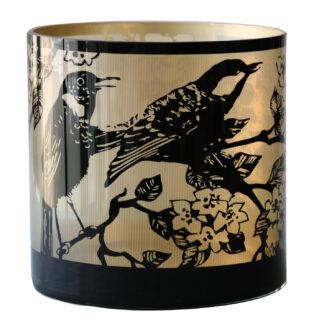 Teelicht Teelichthalter Singender Vogel Frühling Glas gold schwarz Teelichthalter Bird Dekoration Licht Teelicht gold schwarz