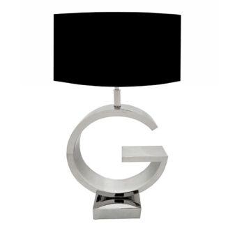Tischlampe G-Form silber Edelstahl mit schwarzem Lampenschirm edel Luxus Tischlampe