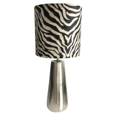 Tischlampe Zebra Lampenfuß silber light gold Lampenschirm Zebra schwarz beige gold Luxus Lampe