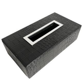 Tissuebox Kosmetiktuch-Box schwarz Leder Krokoprint Reptilprint Krokolederimitat mit Edelstahlring Kosmetiktuch Spender lang