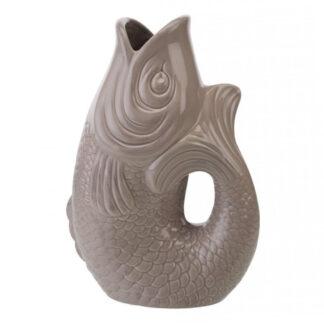Vase Karaffe Fisch sandstone taupe beige Fischvase Fischkaraffe beige Gift company Sommer Tischdekoration Sommerdekoration Vase Fisch Form L