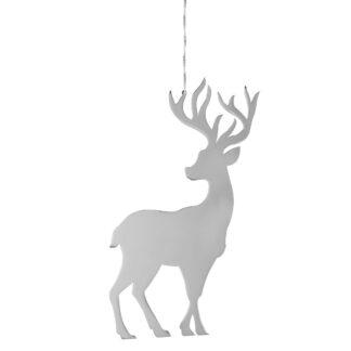 Anhänger Hirsch Figur silber edel Jasper von Fink Dekoanhänger Aufhänger Hirsch Herbst und Winterdekoration Hirsch im Wald