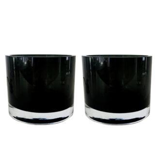 Teelichthalter Windlicht schwarz smoke dickes Glas edel Teelicht Licht